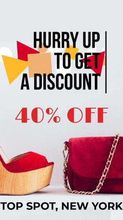 Szablon projektu Accessories Sale with Red Handbag and Shoes Instagram Video Story