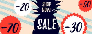 Sale offer with Pineapple fruit silhouette