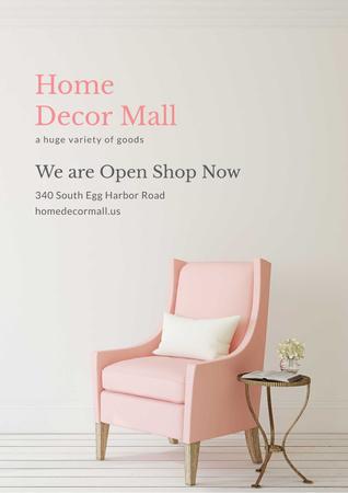 Cozy Pink Chair in white room Poster Modelo de Design