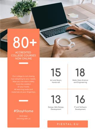 #StayHome Online Education Courses on Laptop Poster Modelo de Design