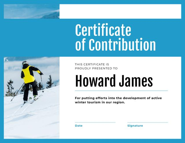 Winter Tourism Contribution gratitude with Skier in mountains Certificate – шаблон для дизайну
