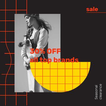 Fashion Seasonal Sale with Girl holding skateboard
