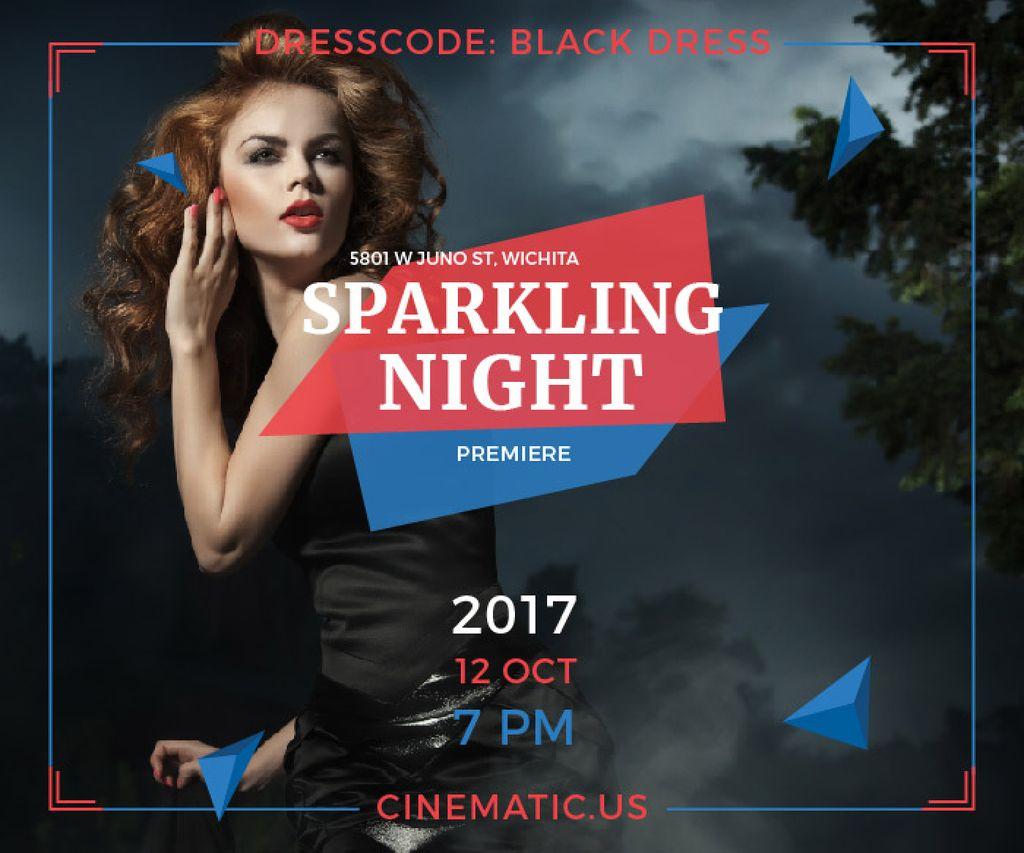 Night Party Invitation Woman in Black Dress — Create a Design