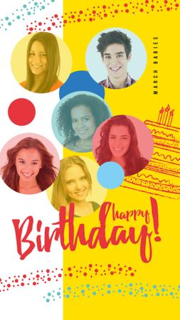 Happy young people on Birthday Instagram Story Modelo de Design