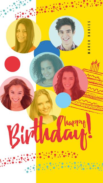Happy young people on Birthday Instagram Story Šablona návrhu