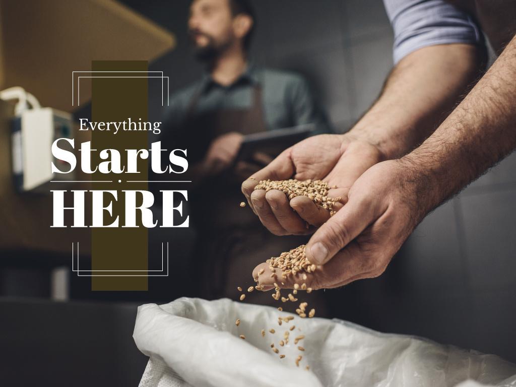 Farmer's hands with wheat — Создать дизайн