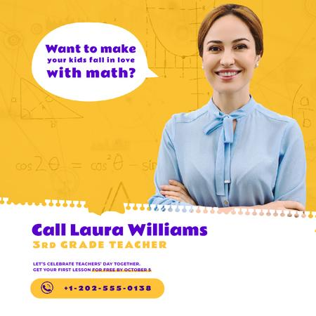 Teacher Quote with Smiling Woman in Blouse Animated Post Design Template