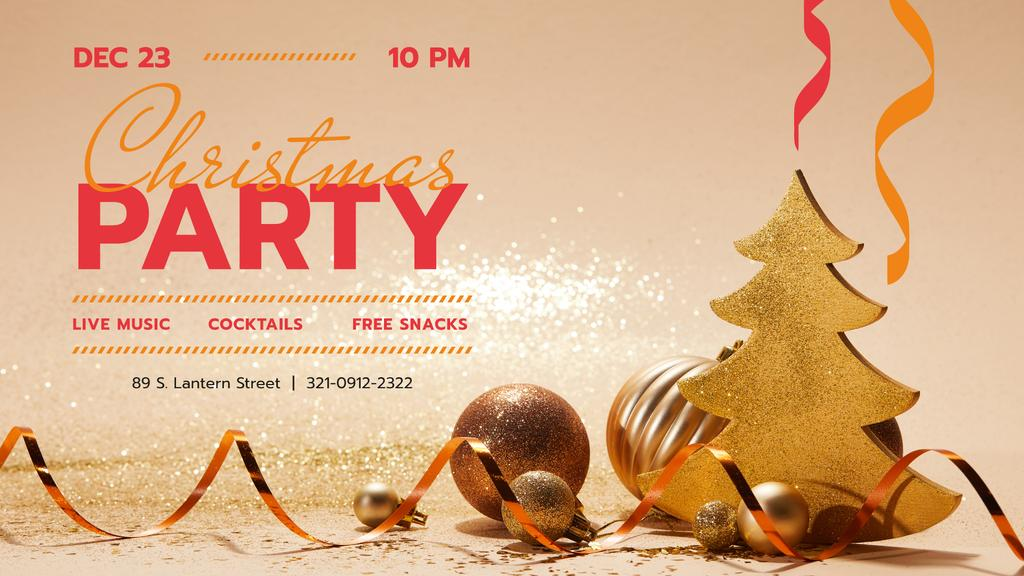 Christmas Party invitation with Golden Decorations — Створити дизайн
