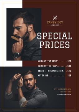 Barbershop Ad with Stylish Bearded Man