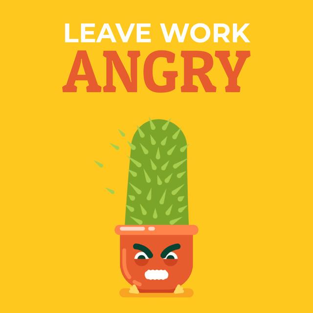 Angry Cactus Cartoon Character Animated Post – шаблон для дизайна
