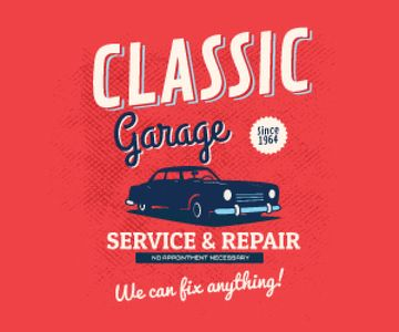 Garage Services Ad Vintage Car in Red | Large Rectangle Template