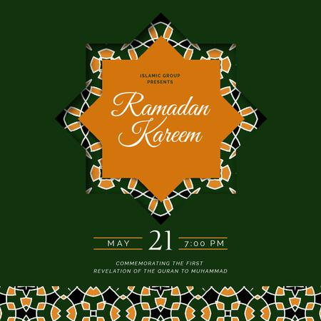 Modèle de visuel Ramadan Kareem greeting on Green - Animated Post