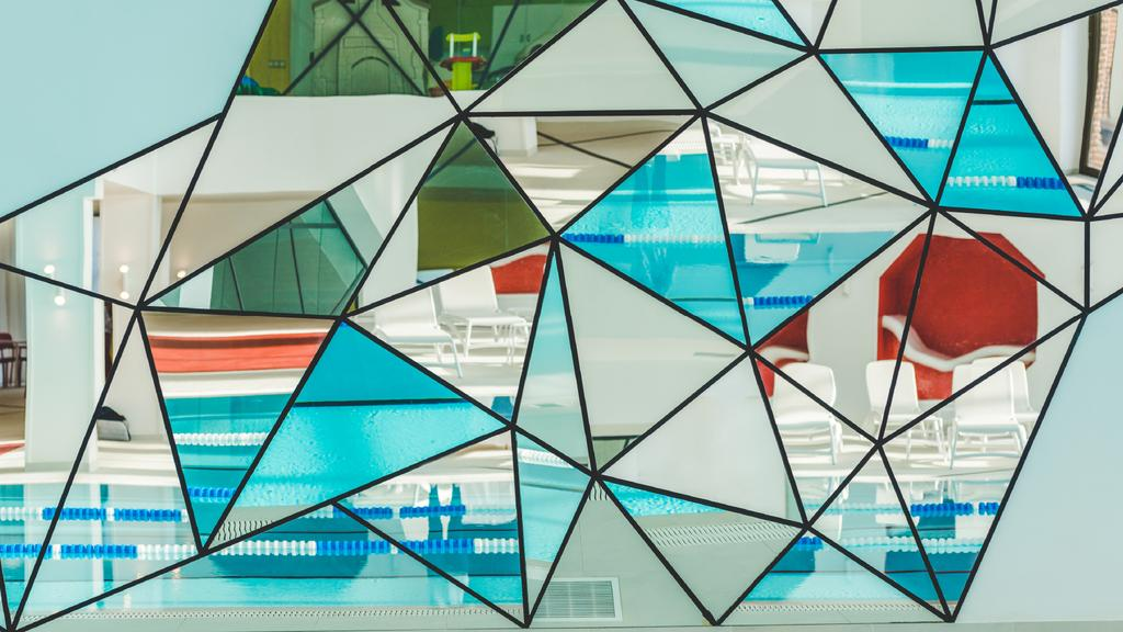 Stained glass collage with swimming pool — ein Design erstellen