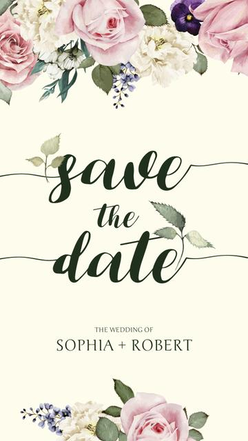 Save the Date Announcement in Frame with tender flowers Instagram Story Design Template