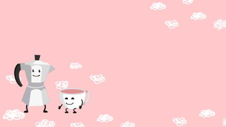 Cute Kettle pouring coffee into smiling Cup Zoom Backgroundデザインテンプレート