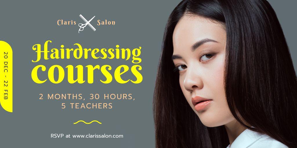 Ontwerpsjabloon van Twitter van Hairdressing Courses Ad with Woman with Brunette Hair