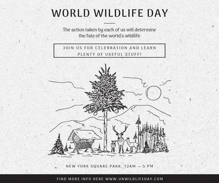 Ontwerpsjabloon van Facebook van World Wildlife Day Event Announcement Nature Drawing