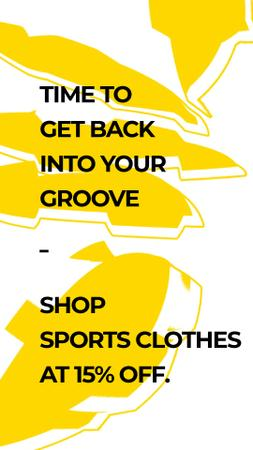 Plantilla de diseño de Sports Clothes Shop Offer with yellow Textures Instagram Video Story