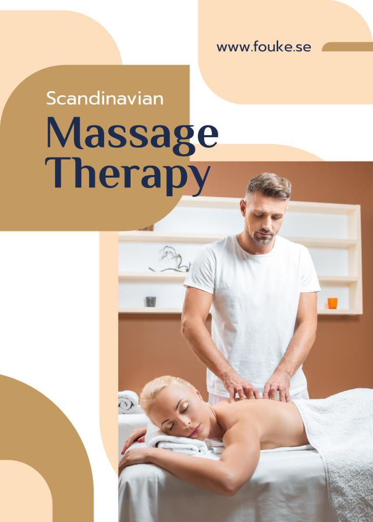 Massage Salon Ad Masseur by Relaxed Woman | Flyer Template — Modelo de projeto