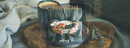 Woman holding Breakfast meal with berries Facebook cover Design Template