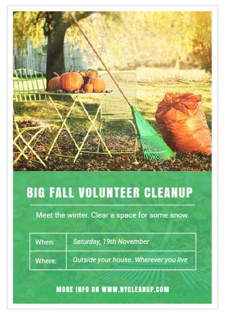 Volunteer Cleanup with Pumpkins in Autumn Garden Invitation Tasarım Şablonu