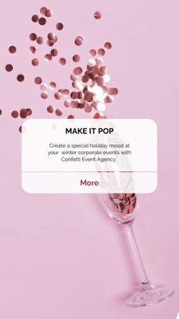 Event Agency ad with Confetti Instagram Story Modelo de Design