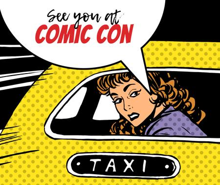 Comic Con invitation Woman in taxi Facebook Design Template