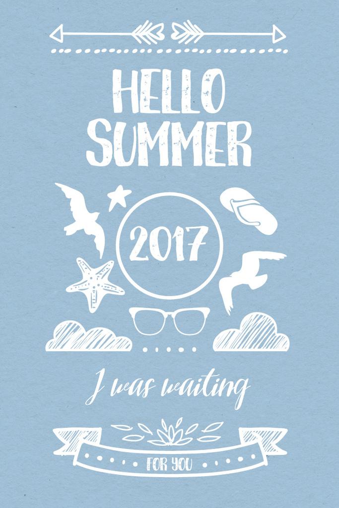 Summer Trip Offer Doodles in Blue | Pinterest Template — Створити дизайн