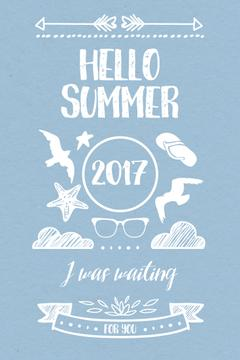 Summer Trip Offer Doodles in Blue | Pinterest Template