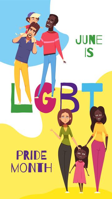 Modèle de visuel Pride Month with LGBT parents with children - Instagram Story