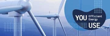 Conserve Energy Wind Turbine in Blue | Email Header Template