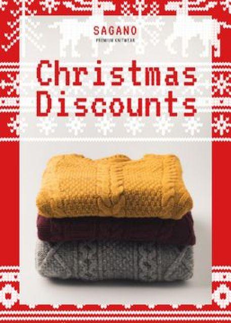 Designvorlage Christmas Sale Stack of Sweaters für Flayer