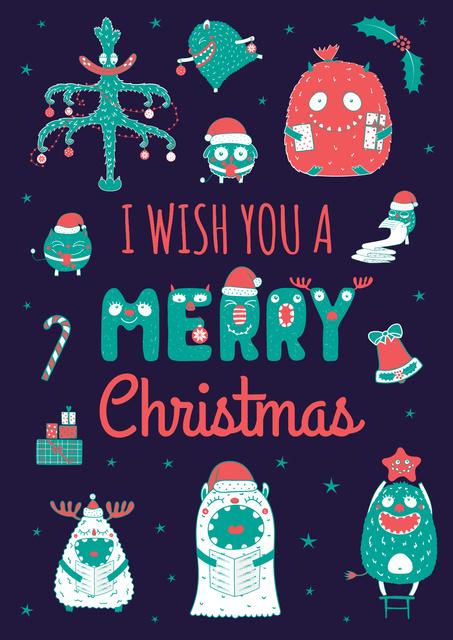 Plantilla de diseño de Funny Christmas monsters Poster