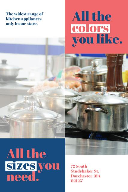 Plantilla de diseño de Kitchen Utensils Store Ad with Pots on Stove Pinterest