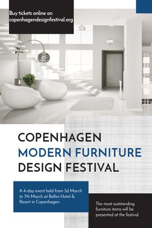 Furniture Festival ad with Stylish modern interior in white Tumblr Modelo de Design
