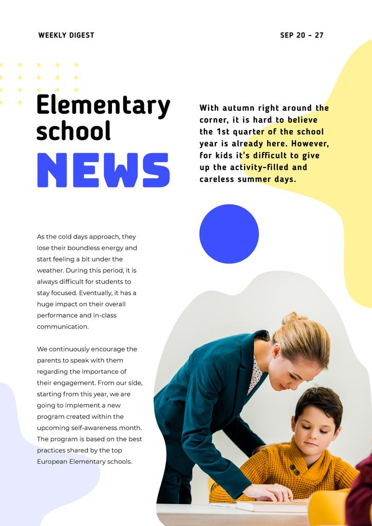 Elementary School News with Teacher and Pupil — Crea un design