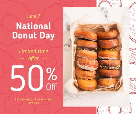 Ontwerpsjabloon van Facebook van Delicious glazed donut's day sale