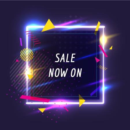 Sale Offer on Flickering neon square  Animated Post Modelo de Design
