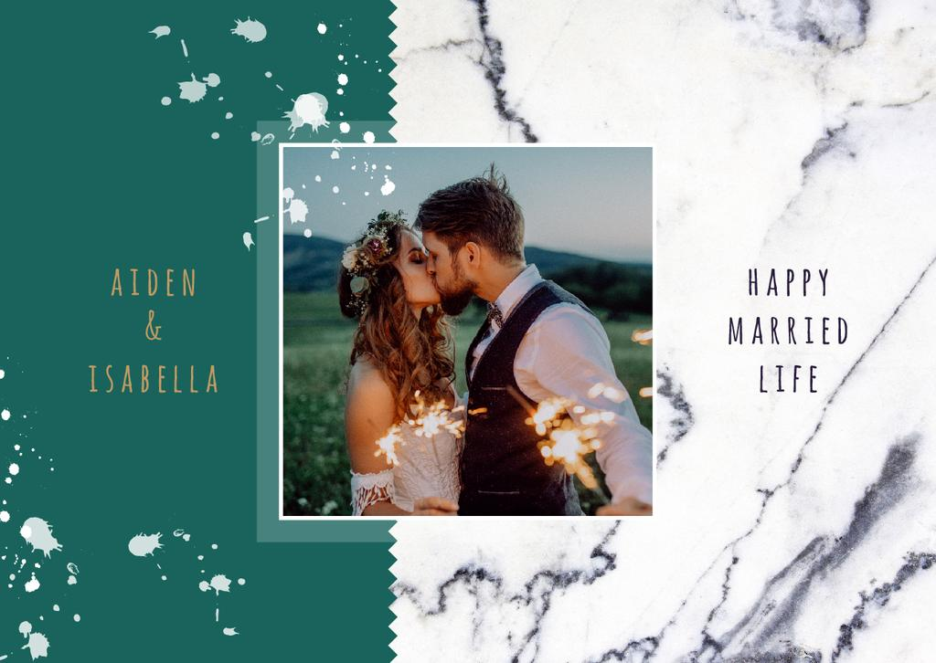 Wedding Greeting Young Kissing Newlyweds — Create a Design