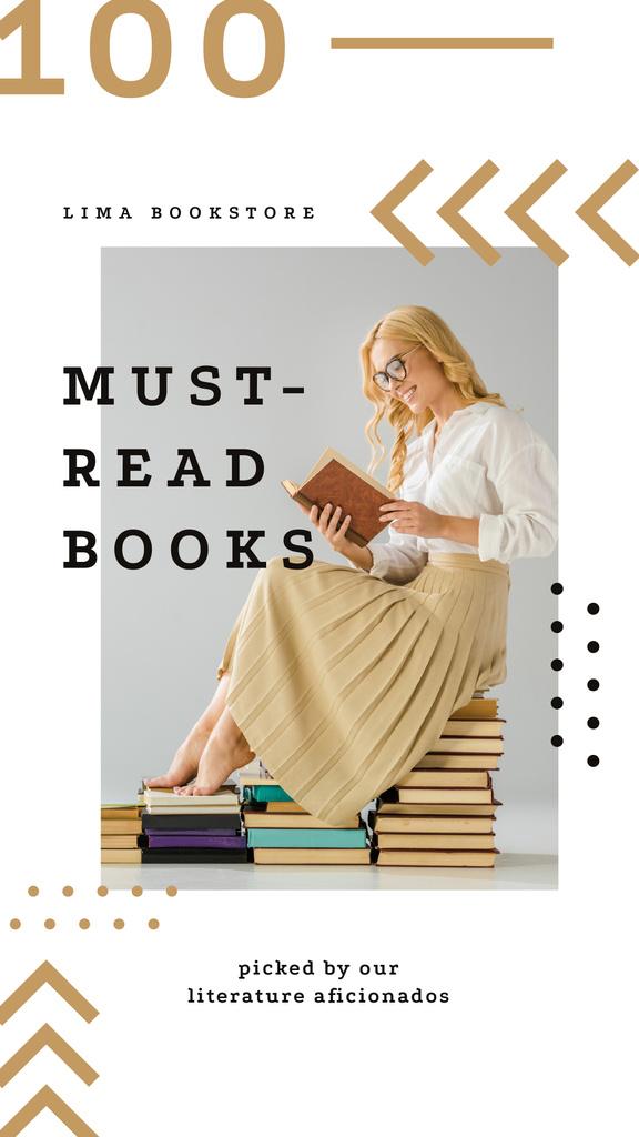 Plantilla de diseño de Young woman reading sitting on the books Instagram Story