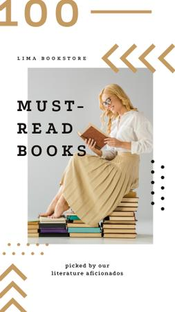 Young woman reading sitting on the books Instagram Story – шаблон для дизайна