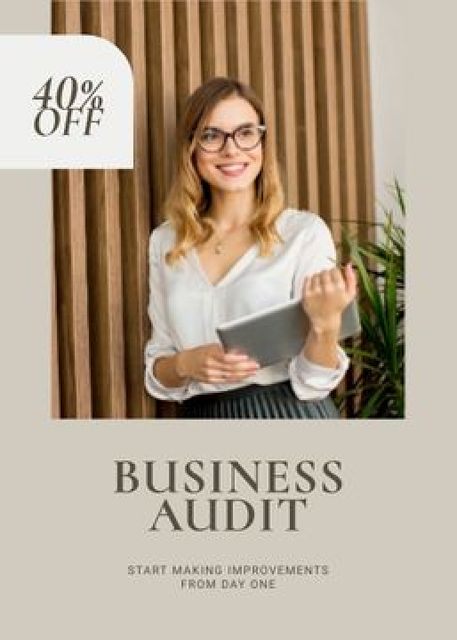 Business Audit Services Ad Confident Businesswoman Flayer – шаблон для дизайна