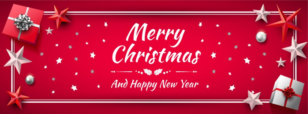 Merry Christmas card in Red color — Create a Design