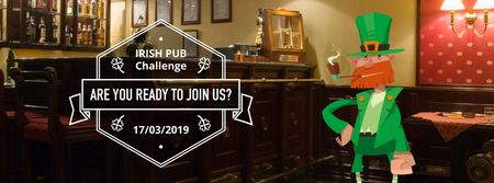 Ontwerpsjabloon van Facebook Video cover van Saint Patrick's leprechaun in pub