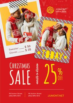 Christmas Sale Couple with Presents | Poster Template