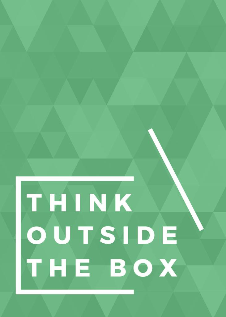 Think outside the box quote on green pattern — Crea un design