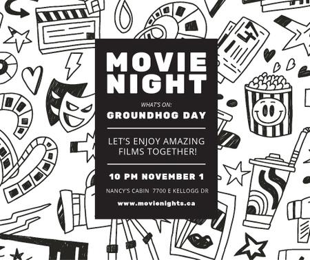 Ontwerpsjabloon van Facebook van Movie Night Event Arts Icons Pattern
