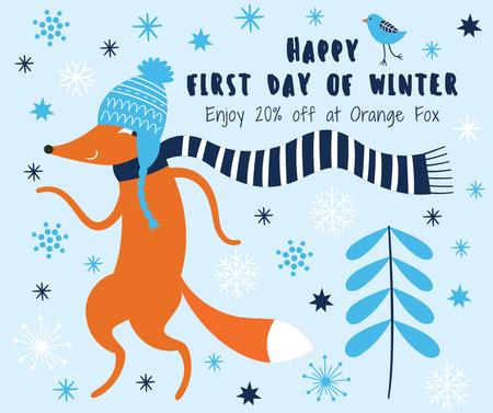 First Day of Winter Greeting with cute Fox Facebookデザインテンプレート