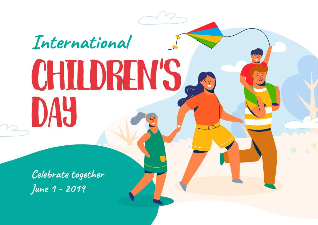 Children's Day Greeting with Parents and Kids Having Fun — Створити дизайн