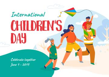 Children's Day Greeting with Parents and Kids Having Fun